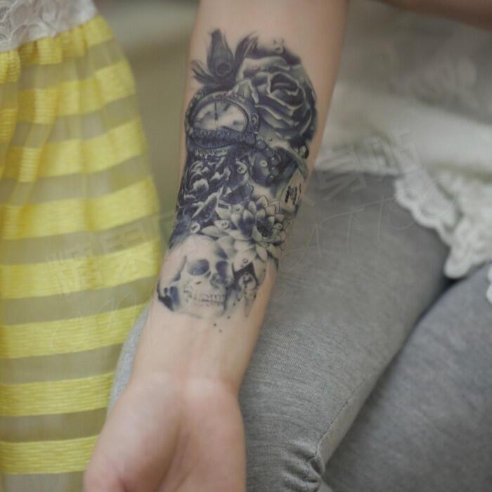 Tatouage Tete De Mort Avec Rose Avant Bras Pret A Taux Zero
