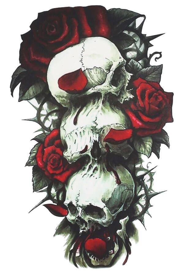 faux tatouage tete de mort et rose kolawi. Black Bedroom Furniture Sets. Home Design Ideas