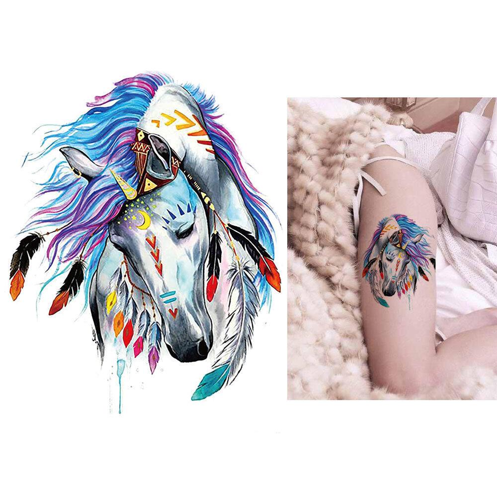 Tatouage changeable cheval indien aquarelle kolawi - Dessin anime indien cheval ...
