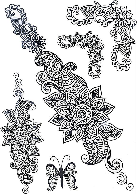 faux tatouage mandala fleuri kolawi. Black Bedroom Furniture Sets. Home Design Ideas