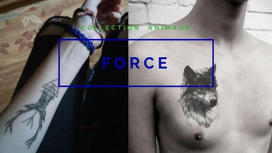 tatouage temporaire force loup cerf solitaire