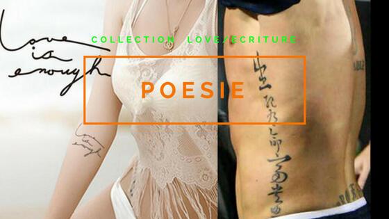 tatouage ephemere poesie , ecriture , message
