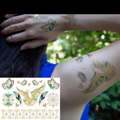 Faux tatouage legereté turquoise