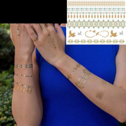 Tattoo bracelet et oiseau vert/or