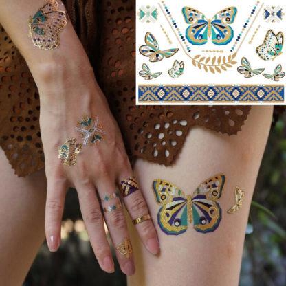 Tatouage temporaire papillons or jade