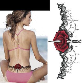 Tatouage ephemere crane queen et roses