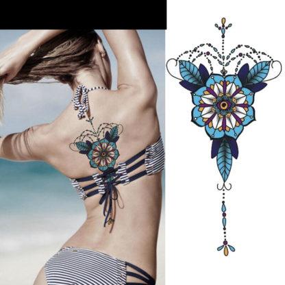 Tatouage ephemere mandala bleuet