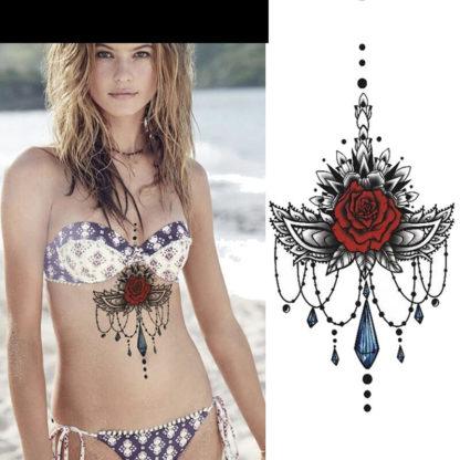 Faux tatouage rose ailes