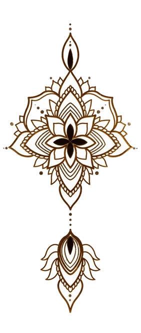 tatouage ephemere mandala or et argent kolawi. Black Bedroom Furniture Sets. Home Design Ideas