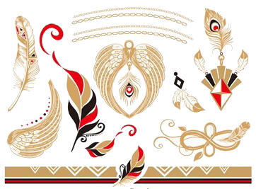 Faux tatouage plume red gold