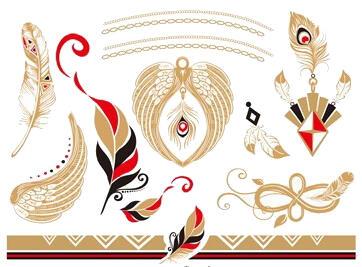 Faux tatouage plume red gold