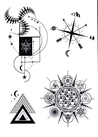 Faux tatouage boussole triangle mandala