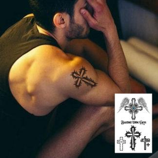 Faux tatouage croix et aile
