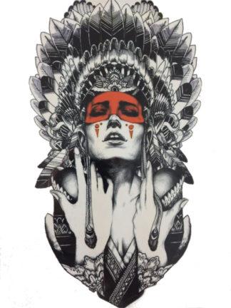 Tatouage ephemere indien regard rouge
