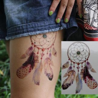 Faux tatouage attrape-reve plume color