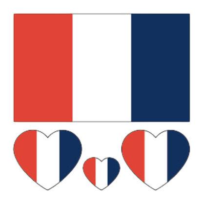 Tatouage ephemere drapeau + coeur France