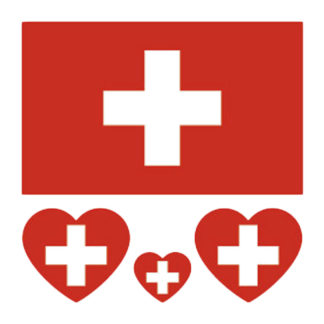 Tatouage temporaire drapeau + coeur Suisse