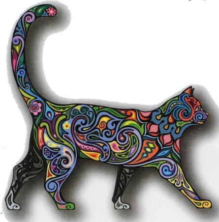 tatouage temporaire chat mosaique - kolawi