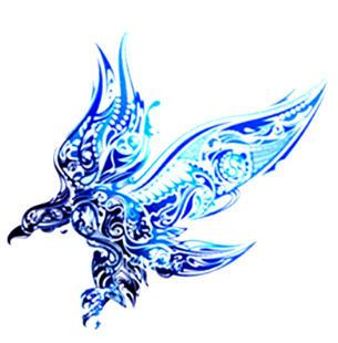 Tatouage ephemere phoenix tribal blue