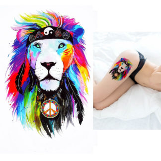 Tatouage temporaire lion peace-and-love