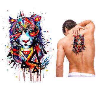 Tatouage ephemere tigre artistique