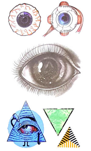 Tatouage temporaire oeil et forme triangulaire