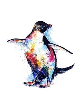 Tatouage ephemere pingouin griffonné
