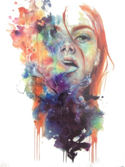 Tatouage temporaire femme fumee en couleur