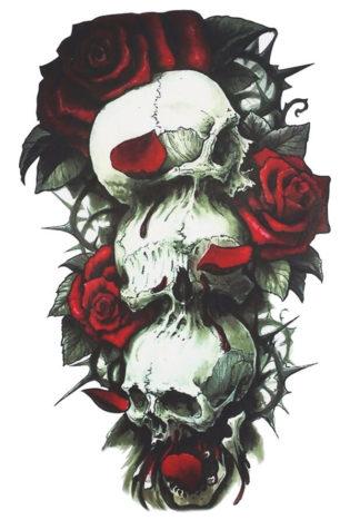 Faux tatouage tete de mort et rose