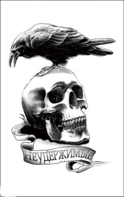 Tatouage temporaire tete de mort et corbeau