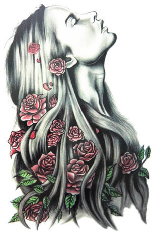 Tatouage ephemere cheveux longs et rose New school