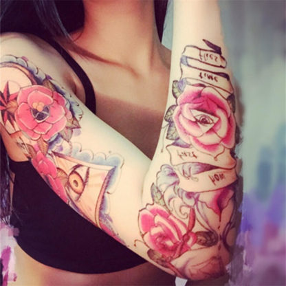 Tatouage temporaire boussole rose old school