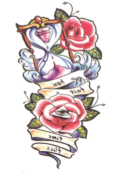 Tatouage ephemere rose sablier old school