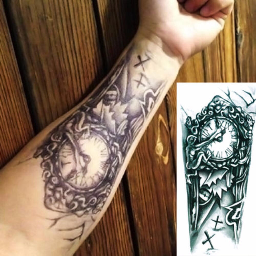 Faux tatouage horloge croix old school