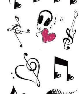 Faux tatouage coeur musical