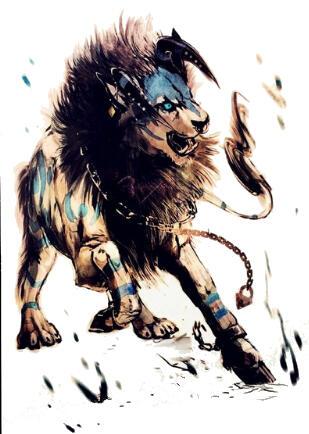 Tatouage ephemere lion à cornes dechainé