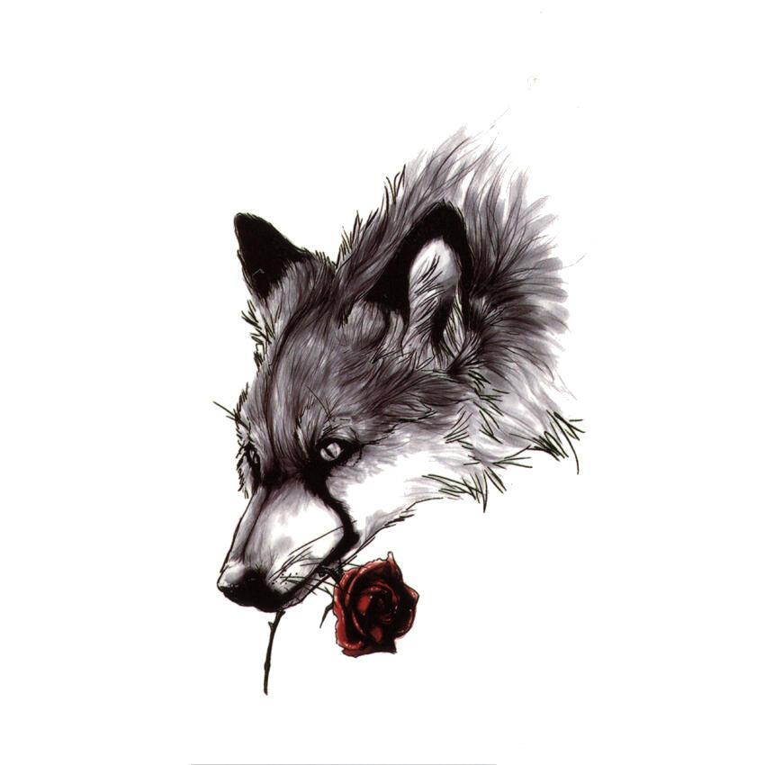 Tattoo Loup Avec Rose Unique Dans Notre Boutique Kolawi