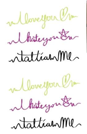 Tattoo message I love-hate you