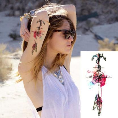 Tattoo boussole plume et ancre