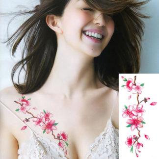 Faux tatouage fleurs en branche rose