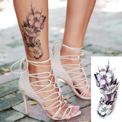 Tattoo fleurs en tige violette