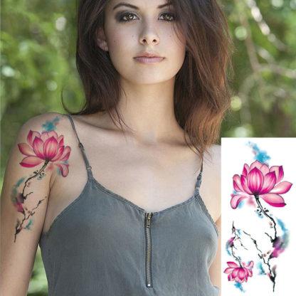Tatouage temporaire fleur en tige Aquarelle