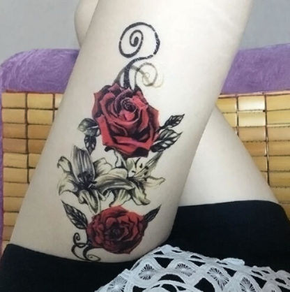 Tatouage ephemere Rose rouge Old school