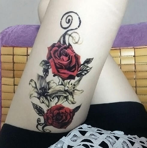 Tatouage Ephemere Rose Rouge Old School Kolawi