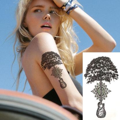 Tattoo arbre mandala guitare
