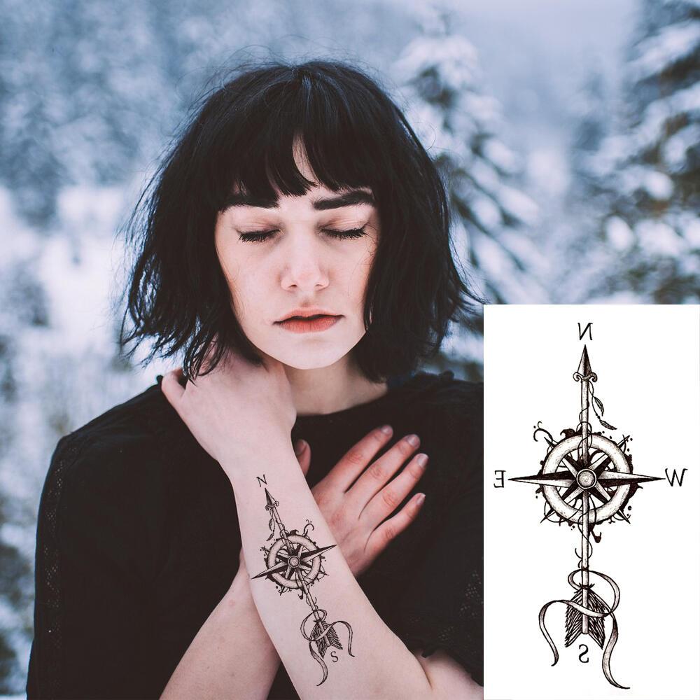 tatouage ephemere boussole fleche collection spirituel. Black Bedroom Furniture Sets. Home Design Ideas
