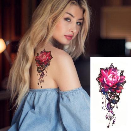 Faux tatouage rose tribal
