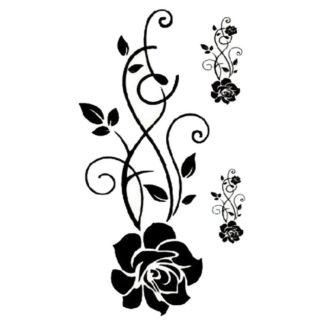 Tatouage ephemere rose noire tribal