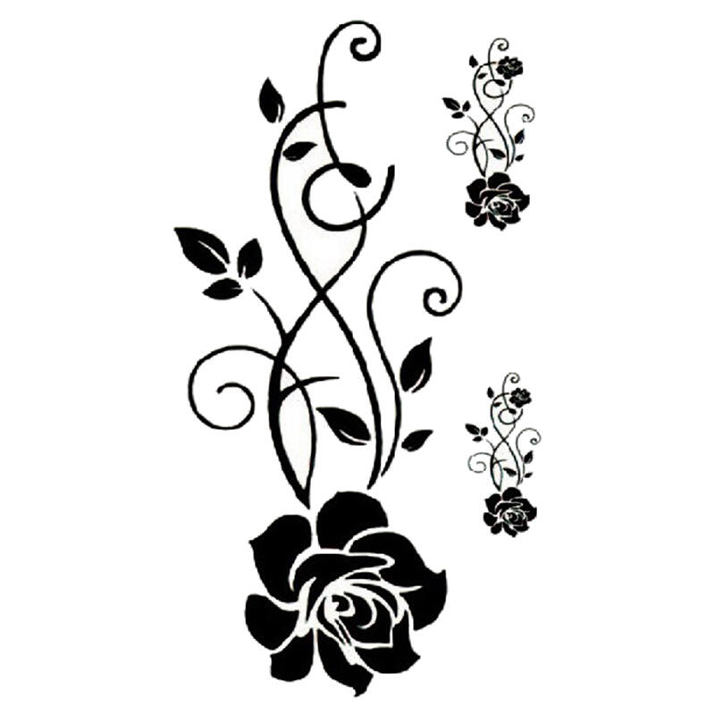 Tatouage Ephemere Rose Noire Tribal Kolawi