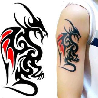 Faux tatouage dragon noir et rouge